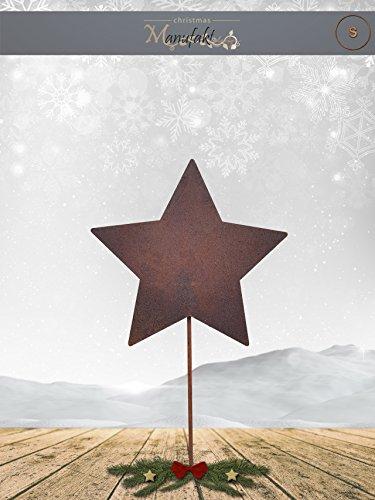 Edelrost Stern am Stab zum Stecken: Variante A / Größe S: 12cm (Geschlossen Symmetrisch) - Wunderschöne Metall Weihnachts-Deko. Ideal für Ihren Hauseingang, im Garten auf Ihrer Terrasse oder in der Wohnung - Weihnachts-Deko von Manufakt-Design