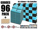 Super Dash 96 Stück Schwarz und Baby Blau 50 x 50 x 5 cm Akustische Schalldämmung Flach Bevel Schaum Studio Behandlung Wandfliesen SD1039