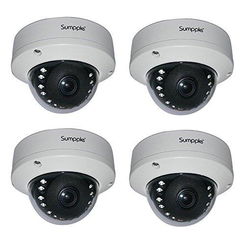 Sumpple 2X WIFI Videocamera Sicurezza Casa IP Wireless/Cablato HD 720P Network, Visione Notturna per Bambini, Animali Domestici, Casa,Ufficio, Supermercati Bianco Wired Cam-4pezzi