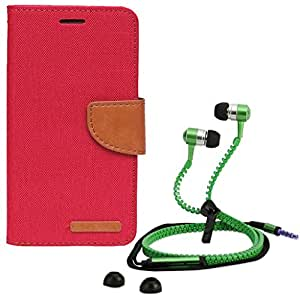 Aart Fancy Wallet Dairy Jeans Flip Case Cover for NokiaN540 (Red) + Zipper Earphones/Hands free With Mic *Stylish Design* for all Mobiles- computers & laptops By Aart Store.