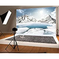 YongFoto 1,5x1m Vinyl Foto Hintergrund Schloss Weihnachten Schnee Bedeckte  Landschaft Eleganter Berg Schwimmbad Sonnenschein