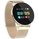 Skryo👍👍 T5 Hombres Mujeres Oxígeno Sangre Presión arterial Monitor de ritmo cardíaco Reloj deportivo Reloj inteligente (Rose Gold)