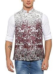 SHOWOFF Mens Cotton Sleeveless Slim Fit printed Maroon Nehru Jacket