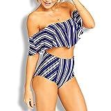 Bellelove Damenmode süße Frische trägerlos Bedruckte Rüschen Split Bademode Bikini Zweiteilig (L, Blau)