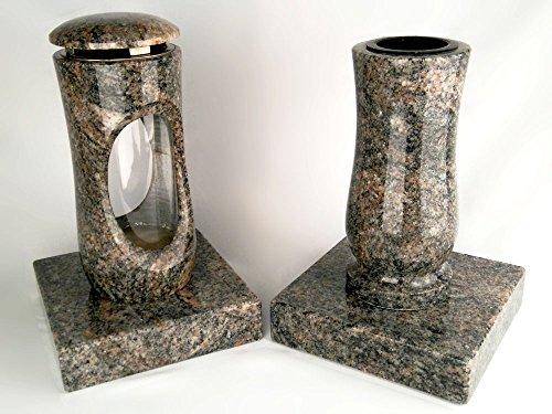 designgrab Design small Grablampe mit Vase und 2 Stück Sockel aus Granit Himalaya, Grabschmuckset