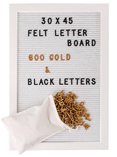 Gadgy ® Letter Board Weiß Holz und Filz 30x45 cm | Buchstaben Tafel Buchstabenbrett Rillentafel | Mit 600 Schwarze und Goldfarbige Buchstaben & Zahlen und Beutel | Retro Felt