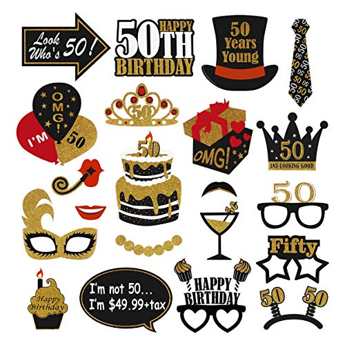 Amosfun 50 Jahre alte Geburtstags-Foto-Requisiten 50. Geburtstagsfeier-Dekoration 21PCS