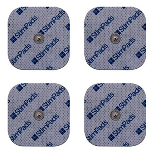 StimPads, 50X50mm, 4-er Pack leistungsstarke, langlebige TENS - EMS Elektroden mit 3.5mm Universal-Druckknopf-Anschluss