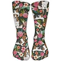 Cool Crazy Basset Hound Florals Pattern Novelty Funny Cotton Crew Dress Socks