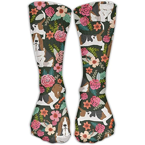 Novelty Gym Crew Long Stockings Sock Cool Crazy Basset Hound Florals Pattern Funny Cotton Dress Comfortable Casual Running Knee High Socks One Size