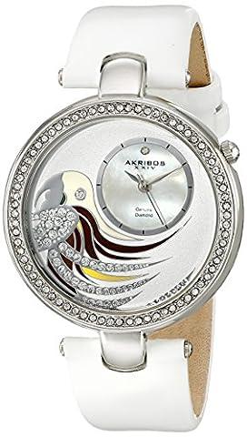 Akribos XXIV Femme Lady Diamond Parrot Cadran Swiss Quartz Montre Bracelet en Cuir