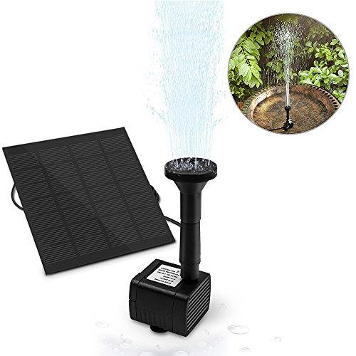 omitium Solar Springbrunnen Solar Teichpumpe mit 1.4W Monokristalline Solar Panel Solar Wasserpumpe Solar schwimmender Fontäne Pumpe für Gartenteich oder Springbrunnen Vogel-Bad Fisch-Behälter (Luft Pumpe Fisch)
