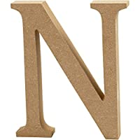 Create Crafts MDF Letter (13cm H, 2cm Thick) -N, Wood, Brown, 11 x 2 x 13 cm
