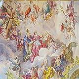 Hintergrundbild Wandsticker Wandtattoo Wanddekorationbenutzerdefinierte 3D Wallpaper Bunte Religiöse Charaktere Ölgemälde Hotel Lobby Decke Dekorative Hintergrund Tapete Wandbild, 430 * 300 Cm