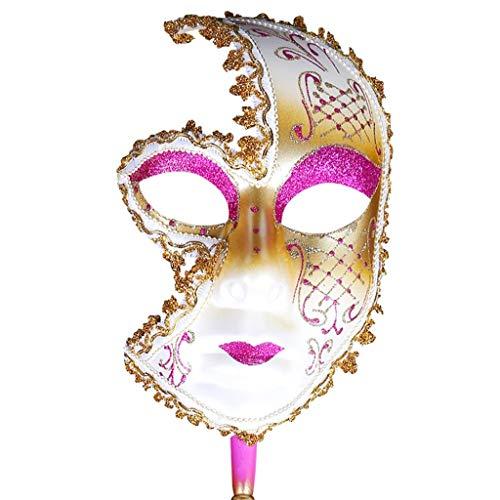 Europäische und amerikanische gemalte Halloween-Masken, Abschlussball-Partei-Masken Upscale Venedig-Leistungs-Masken für Damen (Farbe : Pink)