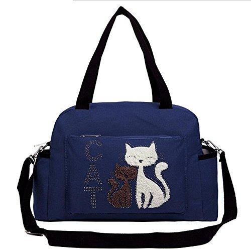 Handtasche für Frauen Canvas Cute Cartoon Katze Einkaufstasche Crossbody Geldbörsen Multi-Funktions Wasserdicht Reiserucksack Windelbeutel für Baby Care Large Capacity (Blau)
