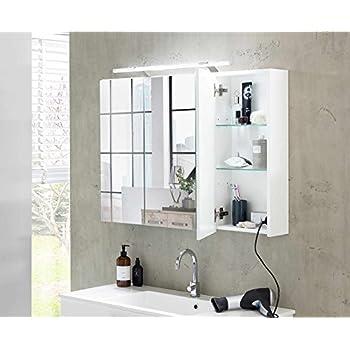 lifestyle4living Bad Spiegelschrank in Weiß, 3 Türen, LED