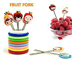 Ylloolly Color Rings Designer Fruit Fork Stand With 8 Cartoon Shape Fruit Forks