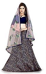 Fabcartz Self Design, Solid Jacquard Lehenga Choli Dupatta Set (FabC_6_Blue Gold_Free Size)