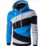 Herren Kapuzen Streifen Patchwork Slim Fit 7 Farben lässige Pullover Sweatshirts(M(TAG:XL),hellblau)