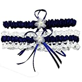 awtlife Royal azul encaje boda Garters con Toss Away Flor Decor