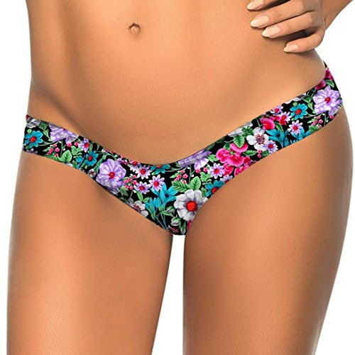 TWIFER Damen Bikini Bottom Slip Thong Badeanzug Bade Bademode Tanga Brazilian - Perlen-3 Stück-hose