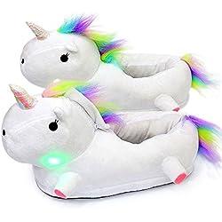LED Zapatillas Unicornio Casa Zapatos Peluche Suave Calentar Invierno Pantuflas Regalo de Navidad Para Niños Niñas (36, Blanco)