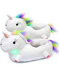 AILIGAITE Einhorn Hausschuhe mit Leuchtende LED Für Jungen Mädchen Schuhe Plüsch Tier Pantoffeln