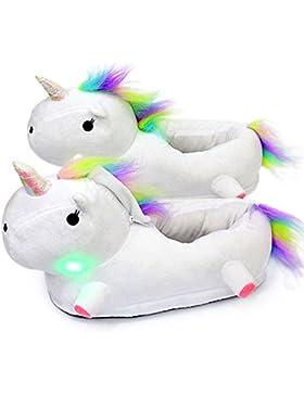 AILIGAITE LED Zapatillas Unicornio Casa Zapatos Peluche Suave Calentar Invierno Pantuflas Regalo de Navidad Para...