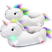 AILIGAITE LED Zapatillas Unicornio Casa Zapatos Peluche Suave Calentar Invierno Pantuflas Niños Niñas