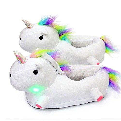 Led unicorno pantofole peluche ciabatte scarpe invernali calde christmas regalo di natale per ragazze bambini (39, bianco)