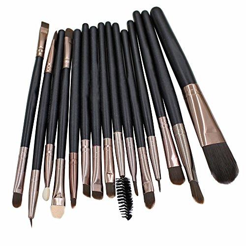 Sanwood 15 pinceaux de maquillage Ensemble Poudre Fond de Teint Fard à paupières lèvres sourcils Pinceaux