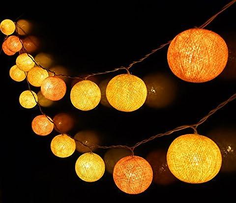 20/Set Classique Boule Coton Léger Jaune Orange Pour Noël Parti