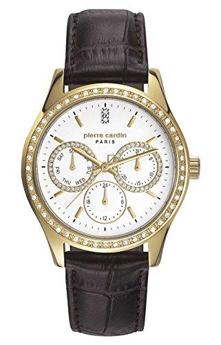 Pierre Cardin Reloj Multiesfera para Mujer de Cuarzo con Correa en Cuero PC106952F21
