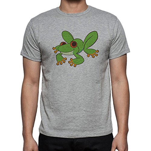 Happy Frog Sitting Smiling Happy Green Red Eyes Herren T-Shirt Grau
