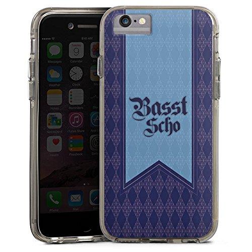 Apple iPhone 6 Bumper Hülle Bumper Case Glitzer Hülle Bavaria Bayern Bayrisch Bumper Case transparent grau