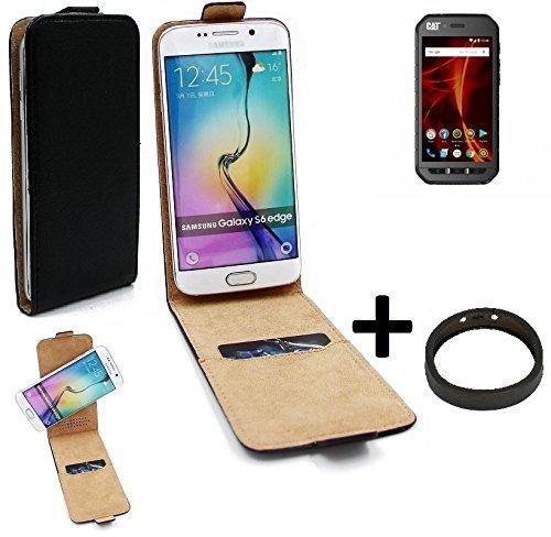 K-S-Trade TOP Set für Caterpillar Cat S41 Dual-SIM 360° Flipstyle Schutz Hülle Smartphone Tasche schwarz + TPU Bumper, Case Hülle Flip Cover für Caterpillar Cat S41 Dual-SIM
