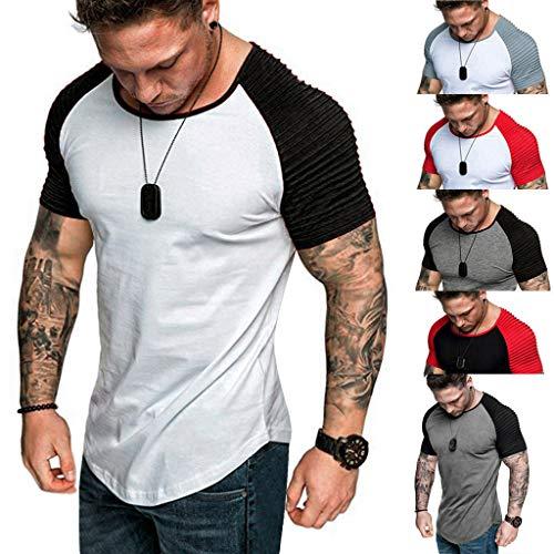 VJGOAL Herren T Shirt V Ausschnitt Slim Fit Kurzarm Sommer Große Größen Beiläufig Rundhalsausschnitt Patchwork Streifen Falten Raglanärmel Men Tops M-XXXL Panda Womens Raglan Hoodie