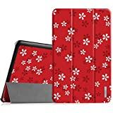 Fintie Samsung Galaxy Tab E 9.6Hülle–Ultra Dünn-Gewicht leicht Tri-Fold Smart Case Cover Schutzhülle für Samsung Galaxy Tab E 9.6SM-T560SM-T561, Floral Red