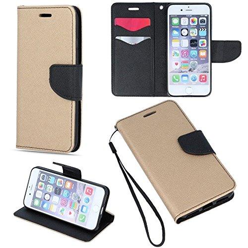 BOOK CASE FANCY für Apple Iphone 7 Cover Handy Tasche Flipcase Etui Buchform Kunststoff TPU Halterung für Kreditkarten (gold - schwarz) gold - schwarz