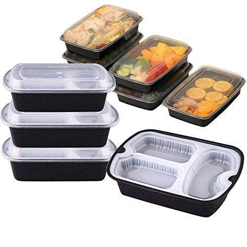 Plastique récipient Container-set 10 pièces | avec couvercles micro-ondes Nourriture au lave-vaisselle réutilisable Bento Lunch Box par S & K