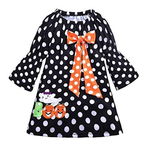 HUKZ Baby Mädchen Bowknot Stickerei Kleider Halloween Kostüm Outfits (Schwarz B, 90)
