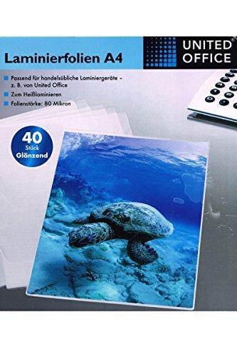 United Office® Laminierfolien A4 40Stück Glänzend - 80 Mikron