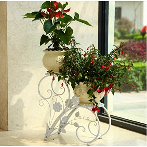 BSNOWF-fleur étagère Fleur Stand Fer Art Plancher-debout Renfort Fleur Pot Étagère Balcon Salon Style Européen (Noir, Blanc, Ancien Cuivre) ( Couleur : Ancient copper )