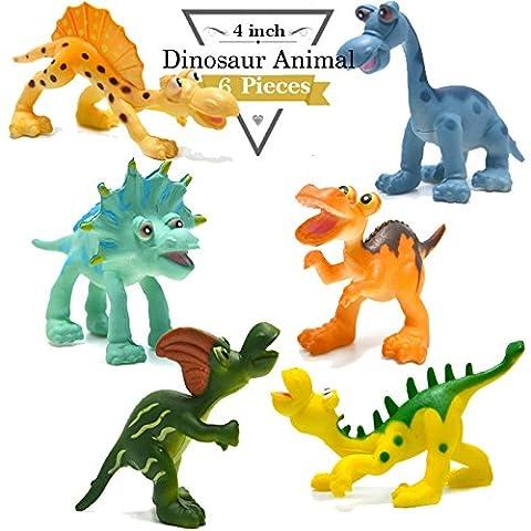 4 pouces Cartoon Dinosaur Figures Set, 6 pièces de plastique Dino Jouets Set de jeu Party Favors