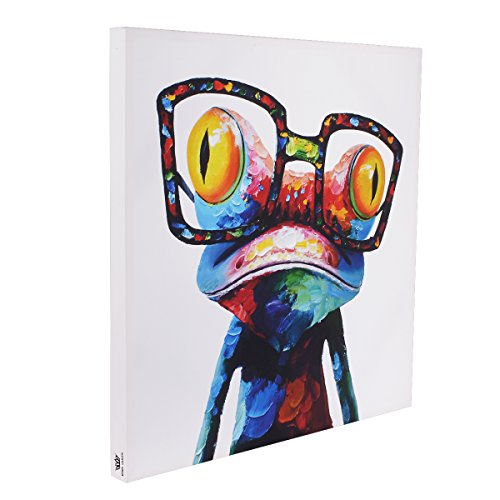 RAIN QUEEN bunt Frosch HD Bilder Bilderrahmen Deko Leinwand Kunstdruck Bild Wandbild Oil Painting Hand-Malerei Aquarell Holz Rahmen (50*50)
