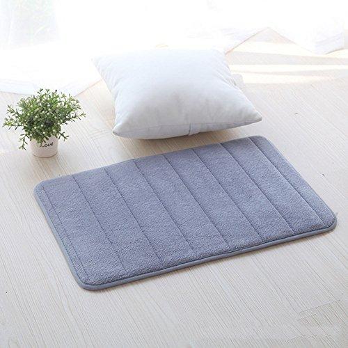 Bad Teppich Weiche Luxus rutschfeste Memory Foam Bad-Teppiche Bad Decor für Wohnzimmer Küche Schlafzimmer, Polyester, grau, 60 x 40 cm