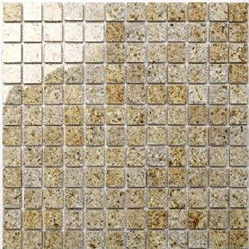 Granit Mosaik Padang gelb geflammt 2,3x2,3x0,8cm, 1 Tafel MOSAKO Fliesen
