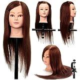 "22"" 100% Human Hair Hairdressing Doll Salon Practice Training Head Mannequin + Clamp Holder"