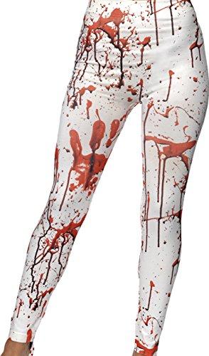 Smiffy's–costume da donna per halloween, leggings con macchie di sangue, colore: bianco